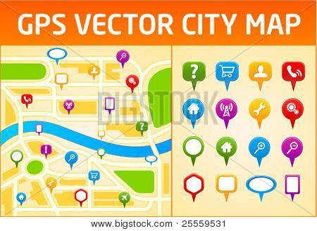 Gps vector city map with navigation icons