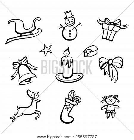 Christmas Icons Drawings. Nice Seasonal Calligraphic Artwork For Greeting Cards. Hand-drawn Vector S