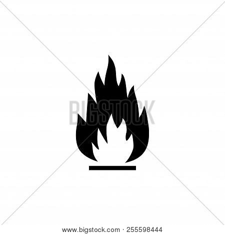 Fire Flame, Flammable. Flat Vector Icon Illustration. Simple Black Symbol On White Background. Fire