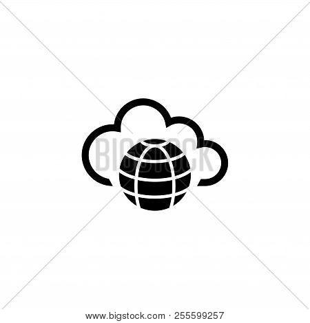 Internet Cloud Technology, Global Web Net. Flat Vector Icon Illustration. Simple Black Symbol On Whi