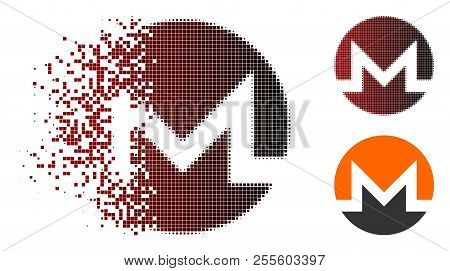 Monero Currency Icon In Dissolved, Dotted Halftone And Undamaged Entire Variants. Fragments Are Orga