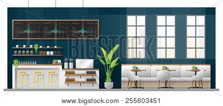 Interior Scene Of Modern Coffee Shop With Counter Bar , Tables And Chairs , Vector , Illustration