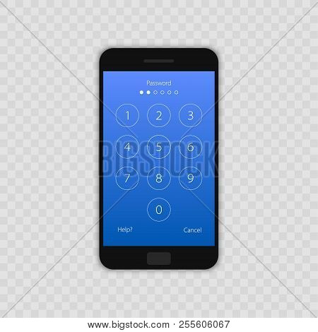 Passcode Interface For Lock Screen, Login Or Enter Password Pages. Vector Phone Id Recognition Scree