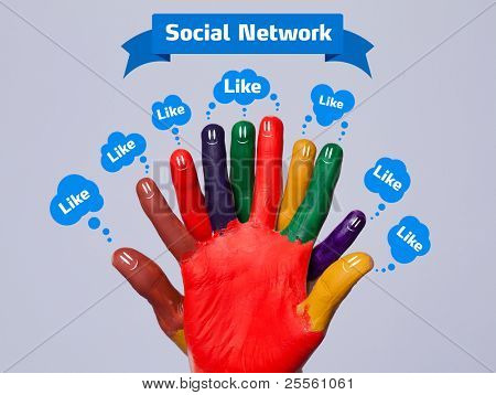 Colorful happy finger smileys with social network sign and like bubbles