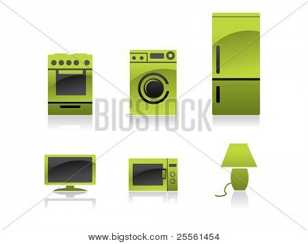 Household icons - green and black