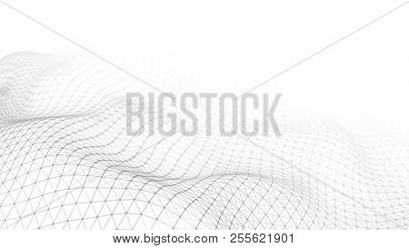 Wave White Background. Abstract White Futuristic Background. Wave With Connecting Dots And Lines On