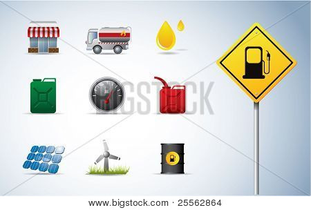 Gasoline, oil and energy icons