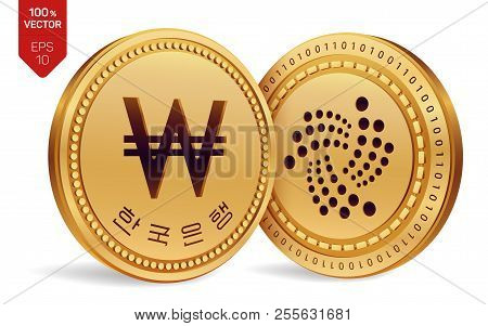 Iota. Won. 3d Isometric Physical Coins. Digital Currency. Korea Won Coin. Cryptocurrency. Golden Coi