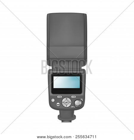 Flash For Slr Camera In Vector On White Background.