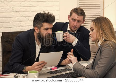 Business Partners, Businessmen At Meeting, Office Background. Bosses Interviewing Woman For Hiring.