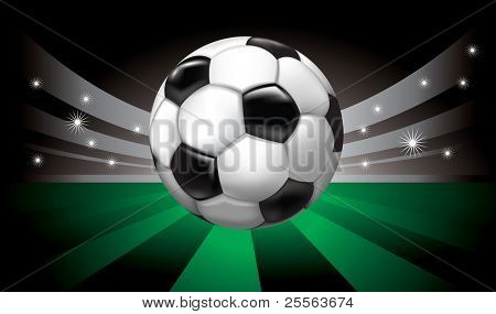 vector background with soccer ball on  stadium in the night