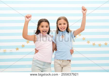 Best Friends. Small Happy Girls Embrace As Best Friends. Friendship Of Small Girls. Meeting With The