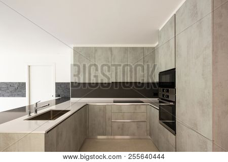 Modern kitchen in bright white apartment. Nobody inside