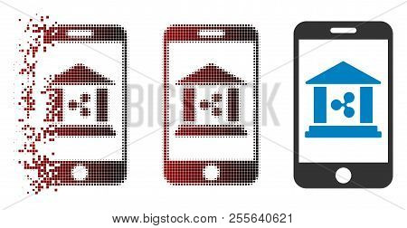 Ripple Mobile Bank Icon In Sparkle, Pixelated Halftone And Undamaged Entire Variants. Fragments Are