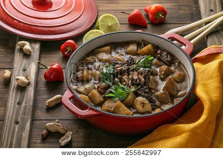 Close View Of Massaman Curry In A Big Pot