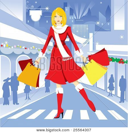 beautiful girl with shopping for Christmas. Vector.