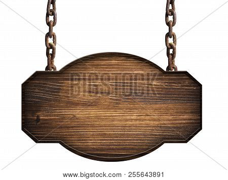 Wooden Sign In Dark Wood Hanging On A Chain Isolated