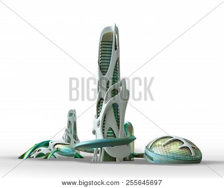 3d Futuristic Sci Fi City Architecture With Organic Skyscrapers And Buildings Isolated On White, Wit