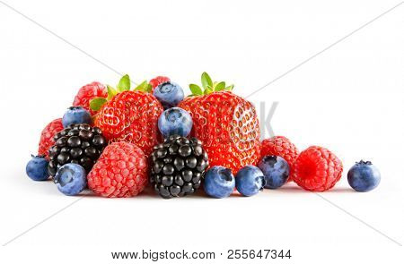 Fresh Sweet Berries Isolated on the White Background. Ripe Juicy Strawberry, Raspberry, Blueberry, Blackberry