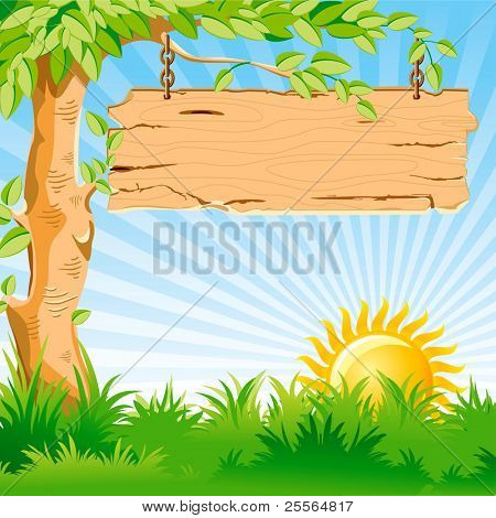 Vector landscape. Sunrise. On a tree branch hanging an old wooden pointer.
