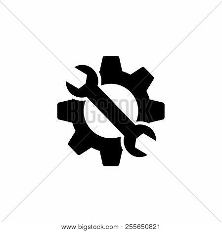 Cogwheel And Wrench Web Icon. Gear And Spanner Maintenance And Settings Icon. Repair Icon.