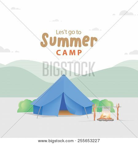 Summer Camp With The Blue Camp And Campfire Illustration Vector. Camping Concept.