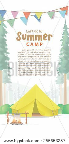 Summer Camp Poster Or Banner That The Yellow Camp Is Middle In The Forest Background And Flag Illust