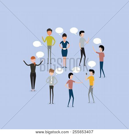 Business People Group Chat Communication Bubble.business People Character Discussing Communication S