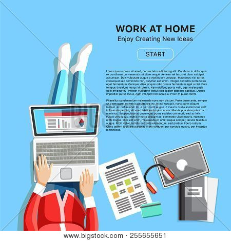 Work At Home Business Banner. Top View Woman With Headphones, Laptop And Business Reports. Self-empl
