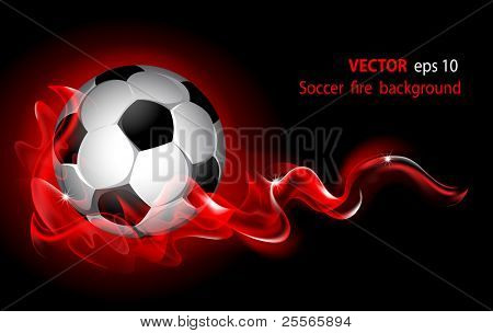 Vector editable fantastic football background with a soccer ball