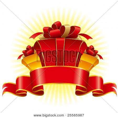 Three cardboard gift box with a bow and ribbons, vector illustration