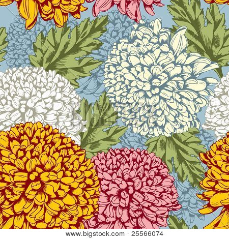 Excellent seamless pattern with chrysanthemum on gray background
