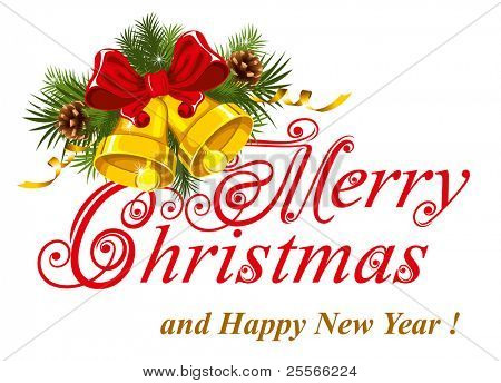 Christmas greetings card. Merry Christmas lettering.