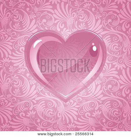 beautiful vector background on Valentine's Day with ornaments and heart.