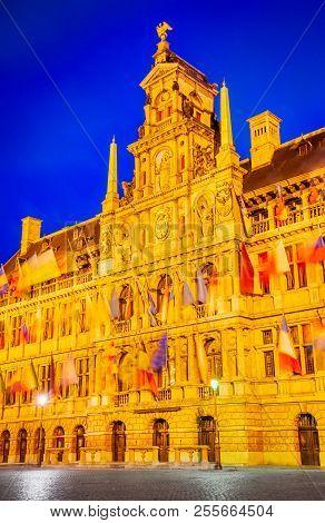 Antwerp, Belgium, Grote Markt,  Spectacular Central Square And Elegant 16th-century Stadhuis (town H