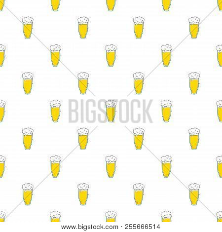 Tall Glass Of Beer Pattern. Cartoon Illustration Of Tall Glass Of Beer Pattern For Web