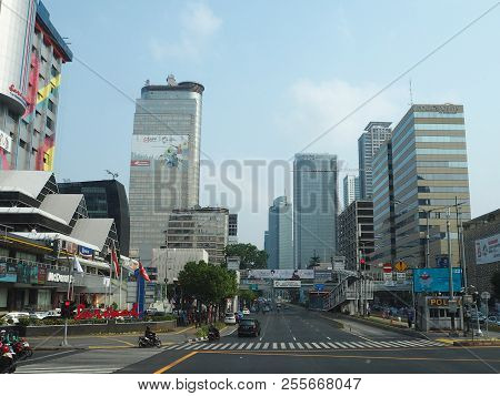 Jakarta, Indonesia - August 24, 2018: Traffic On Jalan Thamrin Around Sarinah Shopping Center.