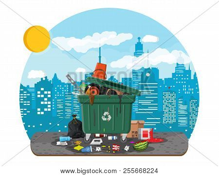 Plastic Garbage Bin Full Of Trash. Overflowing Garbage, Food, Rotten Fruit, Papers, Containers And G