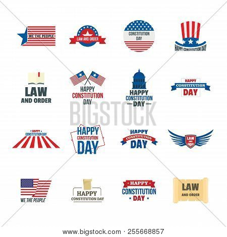 Constitution Day Usa President Patriotic America Flag Logotype Icons Set. Flat Illustration Of 16 Co