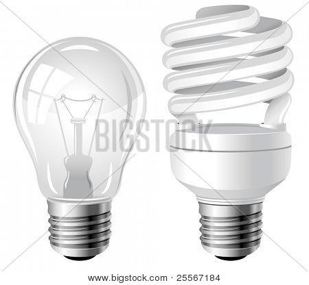 Bombillas de luz de bombillo incandescente y fluorescente