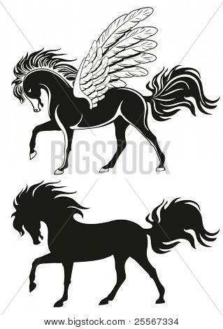 Pegasus winged horse, vector silhouettes