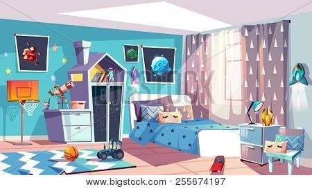 Kid Boy Room Interior Vector Illustration Of Modern Bedroom Furniture In Blue Scandinavian Style. Ca