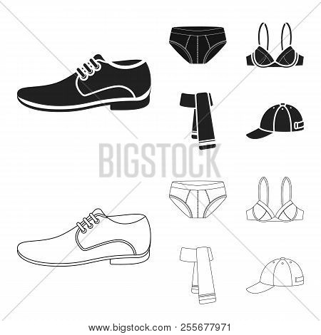 Male Shoes, Bra, Panties, Scarf, Leather. Clothing Set Collection Icons In Black, Outline Style Vect