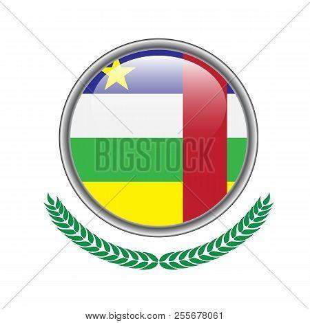 Central-african-republic Flag Button. Central-african-republic Flag Icon. Vector Illustration Of Cen