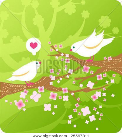 Spring birds in love on floral background with cherry branches