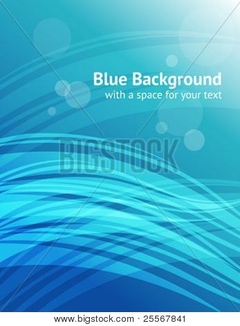 Abstract blue background with transparent wavy elements - letter format proportions - with a space for text