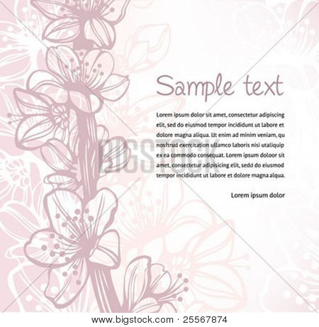 Cherry blossom spring background with hand drawn flowers elements - high quality detailed illustration