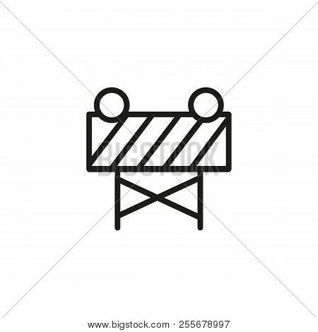 Construction Warning Board Line Icon. Roadwork, Construction Site, Reconstruction. Construction Conc