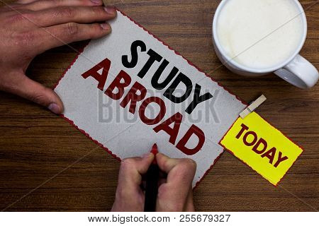 Conceptual Hand Writing Showing Study Abroad. Business Photo Text Pursuing Educational Opportunities