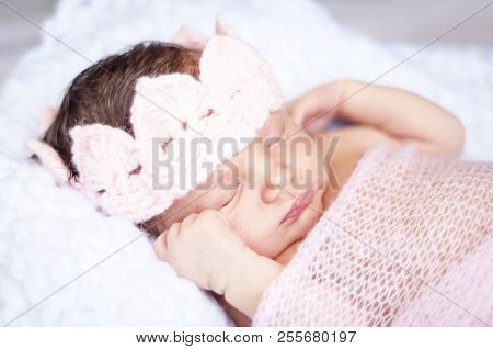 Sweet Sleeping Tiny Newborn Princess With A Pink Crown Wrapped In A Soft Blanket. Cute Newborn Baby